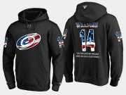 Wholesale Cheap Hurricanes #14 Justin Williams NHL Banner Wave Usa Flag Black Hoodie