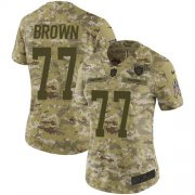 Wholesale Cheap Nike Raiders #77 Trent Brown Camo Women's Stitched NFL Limited 2018 Salute To Service Jersey