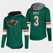 Wholesale Cheap Wild #3 Charlie Coyle Green 2018 Pullover Platinum Hoodie