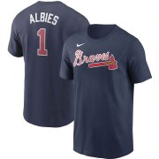 Wholesale Cheap Atlanta Braves #1 Ozzie Albies Nike Name & Number T-Shirt Navy