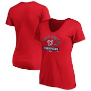 Wholesale Cheap Washington Nationals Majestic Women's 2019 World Series Champions Magic Number V-Neck T-Shirt Red