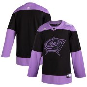 Wholesale Cheap Columbus Blue Jackets Adidas Hockey Fights Cancer Practice Jersey Black