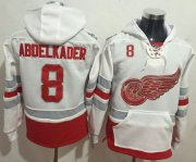 Wholesale Cheap Red Wings #8 Justin Abdelkader White Name & Number Pullover NHL Hoodie