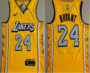 Wholesale Cheap Men's Los Angeles Lakers #24 Kobe Bryant Yellow 2020 Nike City Edition AU ALL Stitched Jersey
