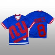 Wholesale Cheap NFL New York Giants #8 Daniel Jones Blue Men's Mitchell & Nell Big Face Fashion Limited NFL Jersey