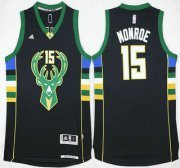 Wholesale Cheap Men's Milwaukee Bucks #15 Greg Monroe Revolution 30 Swingman 2015-16 Black Jersey