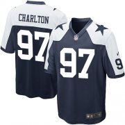 Wholesale Cheap Nike Cowboys #97 Taco Charlton Navy Blue Thanksgiving Youth Stitched NFL Throwback Elite Jersey