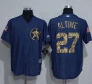 Wholesale Cheap Astros #27 Jose Altuve Denim Blue Salute to Service Stitched MLB Jersey