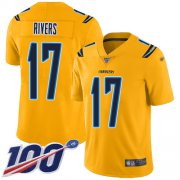 Wholesale Cheap Nike Chargers #17 Philip Rivers Gold Men's Stitched NFL Limited Inverted Legend 100th Season Jersey