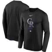 Wholesale Cheap Men's Colorado Rockies Nike Black Authentic Collection Legend Performance Long Sleeve T-Shirt