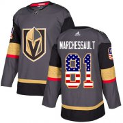 Wholesale Cheap Adidas Golden Knights #81 Jonathan Marchessault Grey Home Authentic USA Flag Stitched NHL Jersey