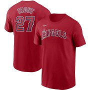 Wholesale Cheap Los Angeles Angels #27 Mike Trout Nike Name & Number T-Shirt Red