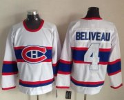 Wholesale Cheap Canadiens #4 Jean Beliveau White CCM Throwback Stitched NHL Jersey