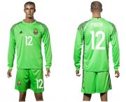 Wholesale Cheap Ukraine #12 Pyatov Green Goalkeeper Long Sleeves Soccer Country Jersey