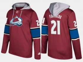 Wholesale Cheap Avalanche #21 Peter Forsberg Burgundy Name And Number Hoodie