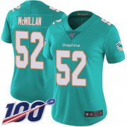 Wholesale Cheap Nike Dolphins #52 Raekwon McMillan Aqua Green Team Color Women's Stitched NFL 100th Season Vapor Limited Jersey