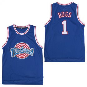 Wholesale Cheap Tune Squad 1 Bugs Blue Stitched Movie Basketball Jersey