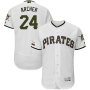 Wholesale Cheap Pittsburgh Pirates #24 Chris Archer Majestic Alternate Authentic Collection Flex Base Player Jersey White