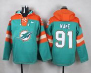 Wholesale Cheap Nike Dolphins #91 Cameron Wake Aqua Green Player Pullover NFL Hoodie