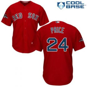 Wholesale Cheap Red Sox #24 David Price Red Cool Base 2018 World Series Champions Stitched Youth MLB Jersey