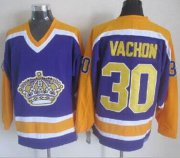 Wholesale Cheap Kings #30 Rogie Vachon Purple CCM Throwback Stitched NHL Jersey