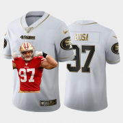 Cheap San Francisco 49ers #97 Nick Bosa Nike Team Hero Vapor Limited NFL 100 Jersey White Golden