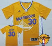 Wholesale Cheap Men's Golden State Warriors #30 Stephen Curry Revolution Yellow Short-Sleeved 2017 The NBA Finals Patch Jersey