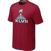 Wholesale Cheap NFL Super Bowl XLVII Logo T-Shirt Red