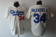 Wholesale Cheap Mitchell and Ness Dodgers #34 Fernando Valenzuela Stitched Cream MLB Jersey