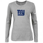 Wholesale Cheap Women's Nike New York Giants Of The City Long Sleeve Tri-Blend NFL T-Shirt Light Grey-2