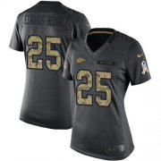 Wholesale Cheap Nike Chiefs #25 Clyde Edwards-Helaire Black Women's Stitched NFL Limited 2016 Salute to Service Jersey