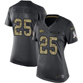 Wholesale Cheap Nike Chiefs #25 Clyde Edwards-Helaire Black Women\'s Stitched NFL Limited 2016 Salute to Service Jersey