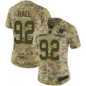 Wholesale Cheap Nike Raiders #92 P.J. Hall Camo Women\'s Stitched NFL Limited 2018 Salute to Service Jersey