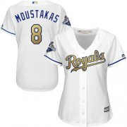 Wholesale Cheap Royals #8 Mike Moustakas White 2015 World Series Champions Gold Program Cool Base Women's Stitched MLB Jersey