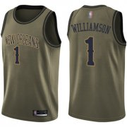 Wholesale Cheap Pelicans #1 Zion Williamson Green Basketball Swingman Salute to Service Jersey