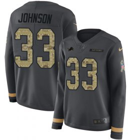 Wholesale Cheap Nike Lions #33 Kerryon Johnson Anthracite Salute to Service Women\'s Stitched NFL Limited Therma Long Sleeve Jersey