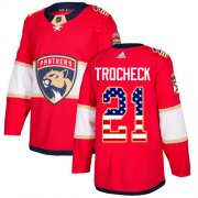 Wholesale Cheap Adidas Panthers #21 Vincent Trocheck Red Home Authentic USA Flag Stitched Youth NHL Jersey