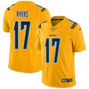 Wholesale Cheap Nike Chargers #17 Philip Rivers Gold Men's Stitched NFL Limited Inverted Legend Jersey