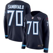 Wholesale Cheap Nike Titans #70 Ty Sambrailo Navy Blue Team Color Women's Stitched NFL Limited Therma Long Sleeve Jersey