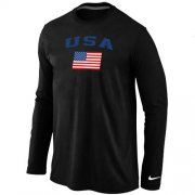 Wholesale Cheap USA Olympics USA Flag Collection Locker Room Long Sleeve T-Shirt Black