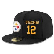 Wholesale Cheap Pittsburgh Steelers #12 Terry Bradshaw Snapback Cap NFL Player Black with Gold Number Stitched Hat