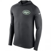 Wholesale Cheap Men's New York Jets Nike Charcoal Stadium Touch Hooded Performance Long Sleeve T-Shirt