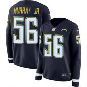 Wholesale Cheap Nike Chargers #56 Kenneth Murray Jr Navy Blue Team Color Women's Stitched NFL Limited Therma Long Sleeve Jersey