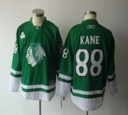 Wholesale Cheap Blackhawks #88 Patrick Kane Green St. Patty's Day Embroidered Youth NHL Jersey