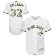 Wholesale Cheap Blue Jays #32 Roy Halladay White Flexbase Authentic Collection Memorial Day Stitched MLB Jersey