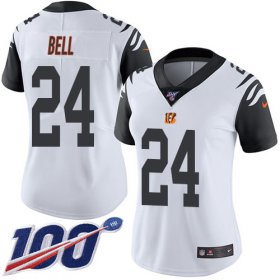 Wholesale Cheap Nike Bengals #24 Vonn Bell White Women\'s Stitched NFL Limited Rush 100th Season Jersey