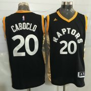 Wholesale Cheap Men's Toronto Raptors #20 Bruno Caboclo Black With Gold New NBA Rev 30 Swingman Jersey