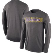 Wholesale Cheap Minnesota Vikings Nike Sideline Seismic Legend Long Sleeve T-Shirt Charcoal