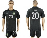 Wholesale Cheap Brazil #20 Lima Black Soccer Country Jersey