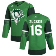 Wholesale Cheap Pittsburgh Penguins #16 Jason Zucker Men's Adidas 2020 St. Patrick's Day Stitched NHL Jersey Green